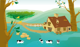 Village and cows on a farm Royalty Free Stock Photo