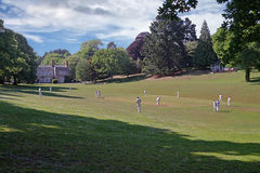 Village Cricket. Cricket is often played on village greens, sometimes as here, close by the former  Squire's abode. This game is taking place at Cockington in Stock Image
