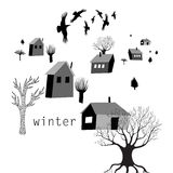 Village and crows in winter. Graphic illustration of house and crows in winter Stock Photo