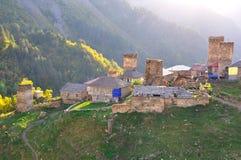 Village d'Adishi, Svaneti la Géorgie Image libre de droits