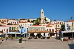 Village d'Emborio, Halki Images stock