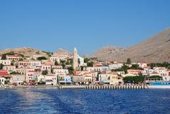 Village d'Emborio, Halki Image stock