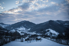 Village d'hiver image stock