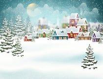 Village d'hiver dans la forêt de pin Photo stock