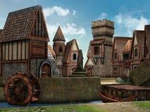 Village d'imagination par une rivière Photographie stock