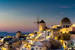Village d'Oia au coucher du soleil Images libres de droits