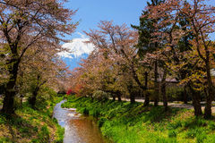 Village d'Oshino Hakkai avec le Mt fuji photo libre de droits