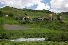 Village d'Ushguli dans Svaneti, la Géorgie Photographie stock libre de droits
