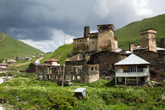 Village d'Ushguli dans Svaneti, la Géorgie Photographie stock