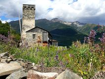 Village d'Ushguli dans Svanetia Image stock