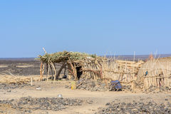 Village in Danakil Depression desert in Ethiopia Royalty Free Stock Photography