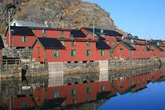 Village dans des îles de Lofoten image stock