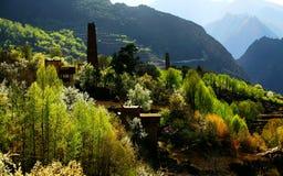 Village dans des zones montagneuses Image stock