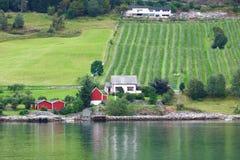 Village de l'Europe dans le fjord Images stock
