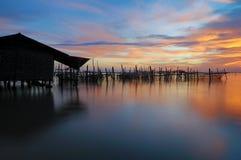 village de Coucher du soleil-pêche Photos libres de droits