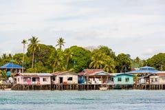 Village de flottement près d'île de Sipadan au Bornéo Malaisie Images stock