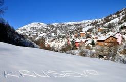 Village de Krushevo en hiver Photographie stock