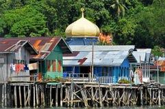 Village de l'eau au Brunei photographie stock