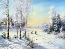 Village de l'hiver illustration de vecteur