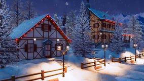 Village de montagne alpin la nuit hiver de chutes de neige illustration stock