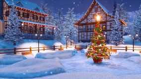 Village de montagne alpin la nuit neigeux Noël illustration de vecteur