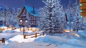 Village de montagne alpin de Milou la nuit Noël illustration de vecteur