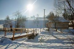 village de montagnes carpathien photo stock