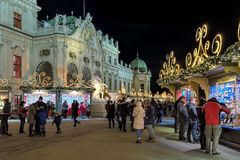 Village de Noël de palais de belvédère à Vienne, Autriche Images stock