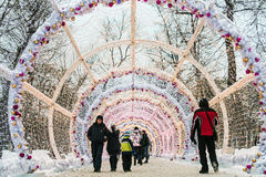 Village de Noël juste sur la rue de Tverskaya à Moscou Image stock