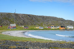 Village de pêche abandonné Hamningberg dans Finnmark, Norvège du nord photos libres de droits