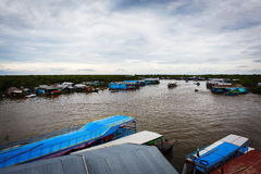 Village de pêche au Cambodge Photographie stock libre de droits