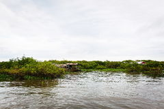 Village de pêche au Cambodge Photos stock
