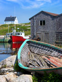 Village de pêche de la Nouvelle-Écosse de la crique de Peggy Photographie stock