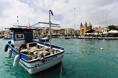 Village de pêche de Marsaxlokk, Malte Photographie stock