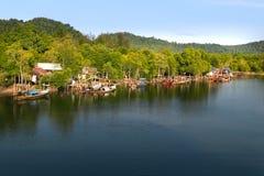 Village de pêche en Thaïlande Images libres de droits