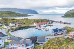 Village de pêche de Kamøyvær sur Magerøya dans Finnmark, Norvège photos libres de droits