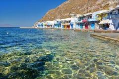Village de pêche traditionnel Klima, Milos Îles de Cyclades La Grèce Photographie stock