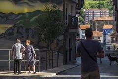 Village de pêcheur de Bermeo dans la côte du pays Basque Europ Images stock