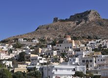 Village de Paltanos en île de Leros Photos stock