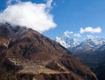 Village de Phortse sur le chemin au camp de base d'Everest, Khumbu, Sagarma Image libre de droits