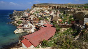 Village de Popeye dans Mellieha, Malte Photos stock