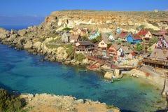 Village de Popeye, Malte Images stock