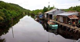 Village de rive du Vietnam Images libres de droits