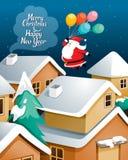 Village de Santa Claus With Balloons Flying Over Photographie stock libre de droits