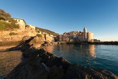 Village de Tellaro au coucher du soleil - Ligurie Italie Images libres de droits