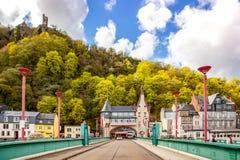 Village de Traben Trarbah sur le paysage Rhénanie Palati de la Moselle image libre de droits