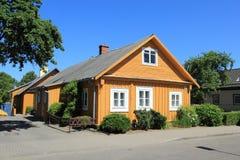 Village de Trakai, housea en bois image libre de droits
