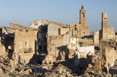 Village demolished. Belchite village destroyed in a bombing during the Spanish Civil War Royalty Free Stock Photos