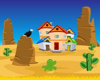 Village on dick west. Vector illustration of the village on dick west Stock Photos