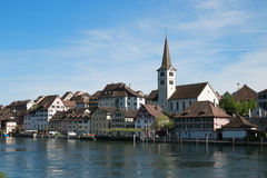 Village Diessenhofen with river Rhine. Located on the Rhine border to Germany. Diessenhofen is a small histroic village Stock Image
